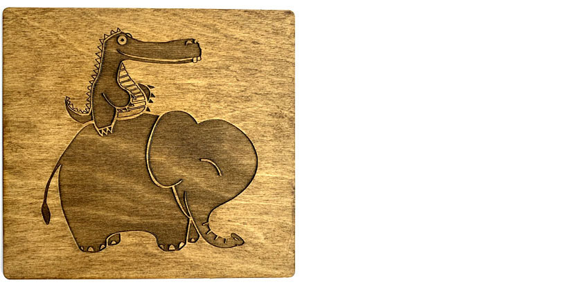 Laser etched Alligator and Elephant illustration from our week 3 assignment