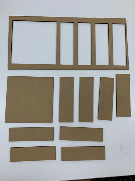 laser cut box prototype pieces