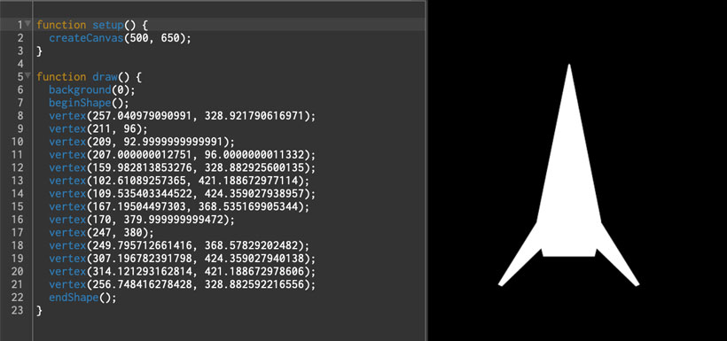 rocket ship vector coordinates code import and render