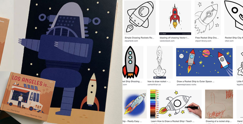 this is los angeles book. rocket ship page and google rcoket ship image search
