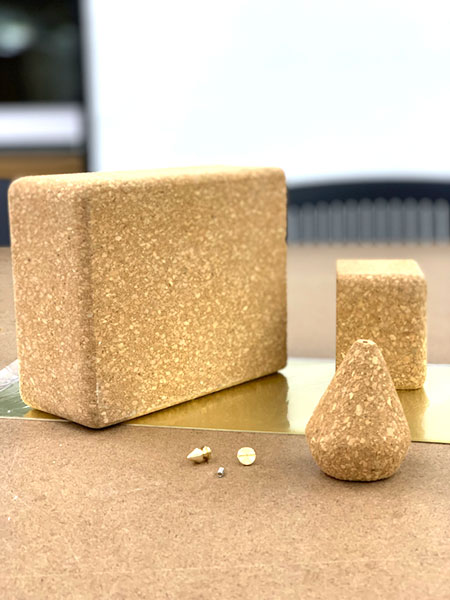 cork and brass materials